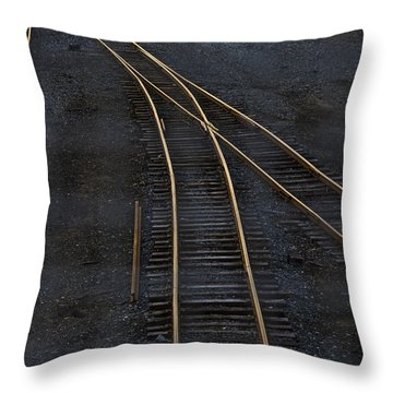 Golden Tracks Throw Pillow