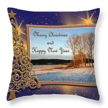 Golden Tree Throw Pillow by Randi Grace Nilsberg