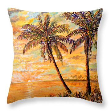 Throw Pillow featuring the painting Golden Tropics by Lou Ann Bagnall