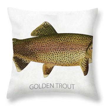 Golden Trout Throw Pillow by Aged Pixel