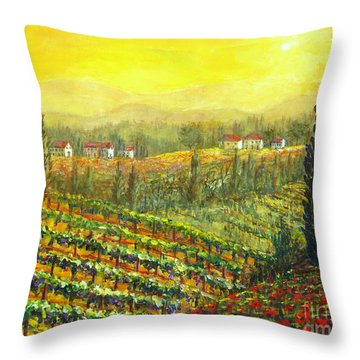 Golden Tuscany Throw Pillow by Lou Ann Bagnall
