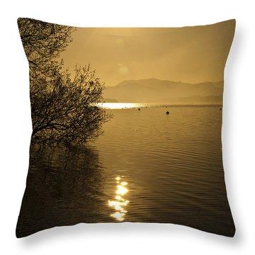 Golden Ullswater Evening Throw Pillow by Meirion Matthias
