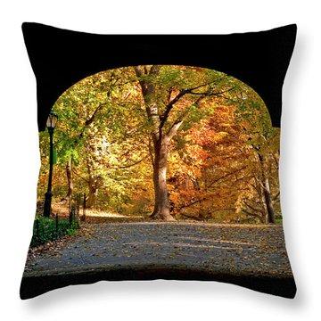 Golden Underpass Throw Pillow
