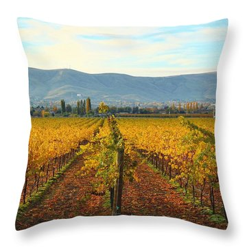 Golden Vineyards Throw Pillow