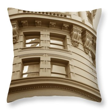 Golden Vintage Building Throw Pillow by Connie Fox