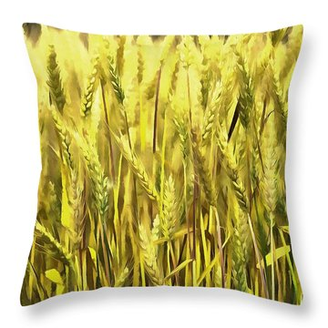 Golden Wheat Throw Pillow by Marion Johnson