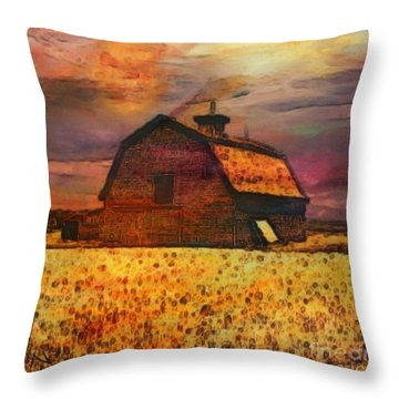 Golden Wheat Sunset Barn Throw Pillow