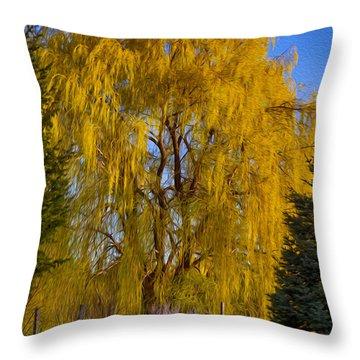 Golden Willow Tree Throw Pillow by Omaste Witkowski