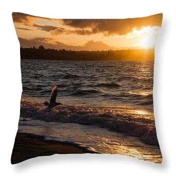 Golden Wings Golden Water Throw Pillow