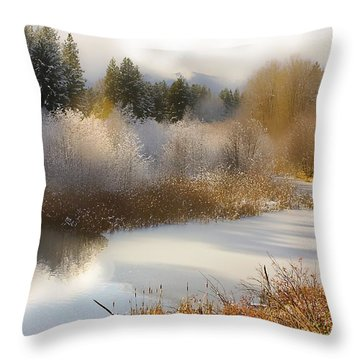 Throw Pillow featuring the photograph Golden Winter by Sonya Lang