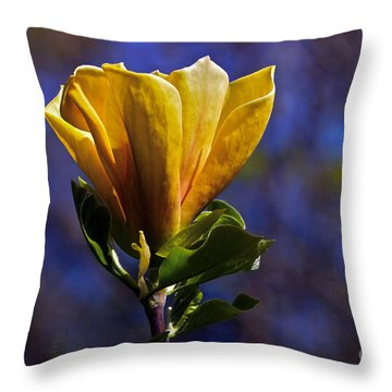 Golden Yellow Magnolia Blossom Throw Pillow by Byron Varvarigos