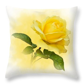 Golden Yellow Rose Throw Pillow by Jane McIlroy