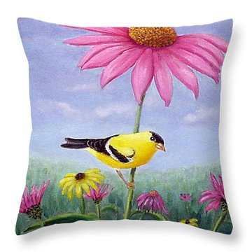 Throw Pillow featuring the painting Goldfinch And Coneflowers by Fran Brooks