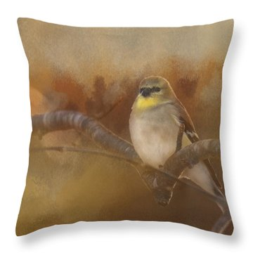 Resting Goldfinch Throw Pillow