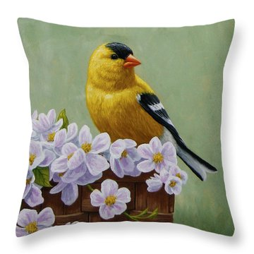 Goldfinch Blossoms Greeting Card 3 Throw Pillow by Crista Forest