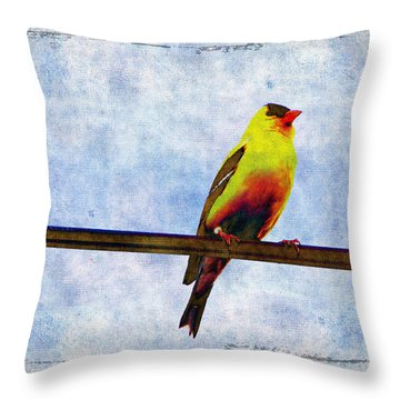 Goldfinch Throw Pillow by Cassie Peters