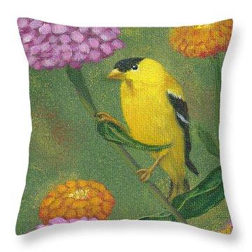 Goldfinch Garden Throw Pillow