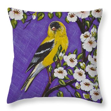 Throw Pillow featuring the painting Goldfinch In Pear Blossoms by Jennifer Lake
