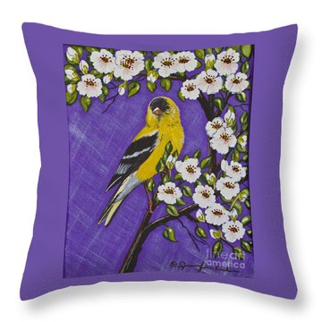 Goldfinch In Pear Blossoms Throw Pillow