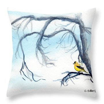Goldfinch In Tree Throw Pillow