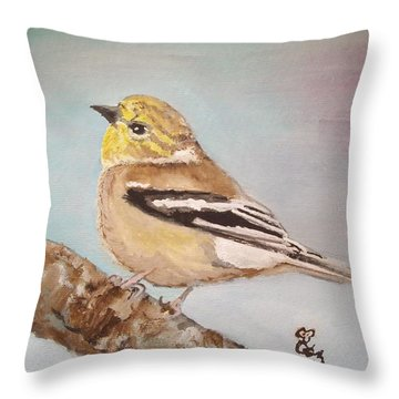 Goldfinch In Winter Plumage Throw Pillow by Carole Robins