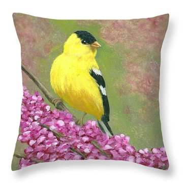 Goldfinch Spring Throw Pillow
