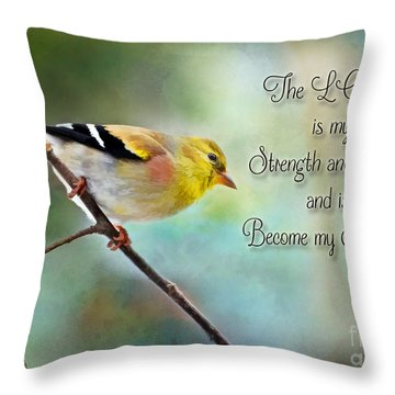 Goldfinch With Rosy Shoulder - Digital Paint And Verse Throw Pillow by Debbie Portwood