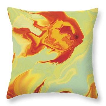 Throw Pillow featuring the digital art Goldfish 1 by Rabi Khan
