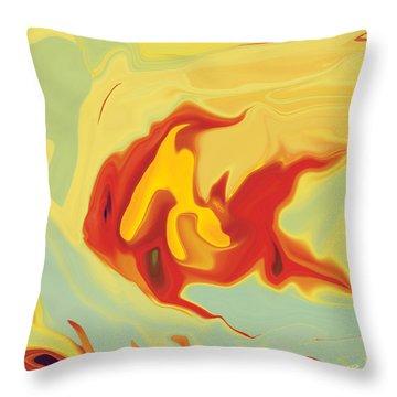 Throw Pillow featuring the digital art Goldfish 2 by Rabi Khan
