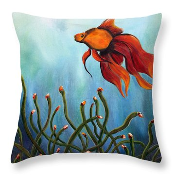 Throw Pillow featuring the painting Goldfish by Jolanta Anna Karolska