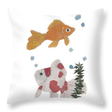 Goldfish Art Throw Pillow by Keiko Suzuki
