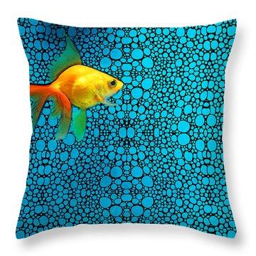 Goldfish Study 3 - Stone Rock'd Art By Sharon Cummings Throw Pillow by Sharon Cummings