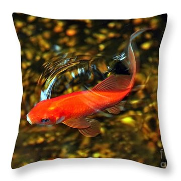 Goldfish Swimming Throw Pillow by Susan Wiedmann