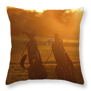 Golf Bags At Sunset Throw Pillow