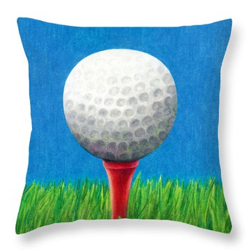 Throw Pillow featuring the drawing Golf Ball And Tee by Janice Dunbar