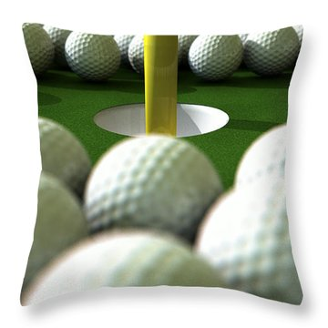 Golf Ball Hole Assault Throw Pillow by Allan Swart