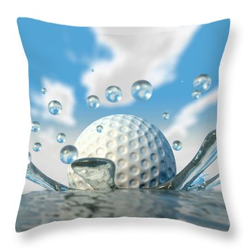 Golf Ball Water Splash Throw Pillow