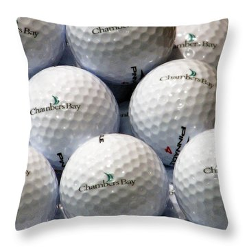 Throw Pillow featuring the photograph Golf Balls - Chambers Bay Golf Course by Chris Anderson