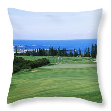 Golf Course At The Oceanside, Kapalua Throw Pillow