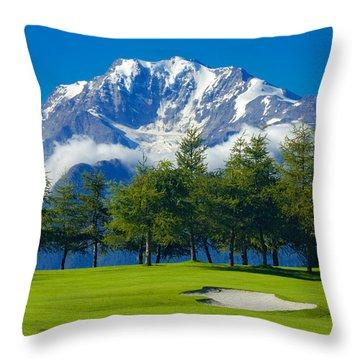 Golf Course In The Mountains - Riederalp Swiss Alps Switzerland Throw Pillow by Matthias Hauser