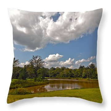 Throw Pillow featuring the photograph Golf Course Landscape by Alex Grichenko
