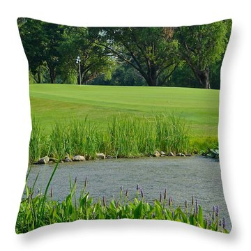 Golf Course Lay Up Throw Pillow by Frozen in Time Fine Art Photography