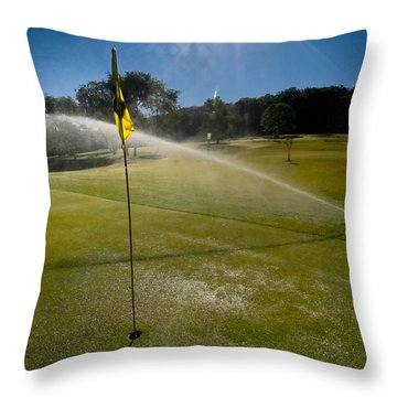 Golf Course Sprinkler On Sunny Day Throw Pillow by Amy Cicconi