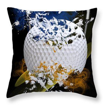 Golf Explosion Throw Pillow by Davina Washington