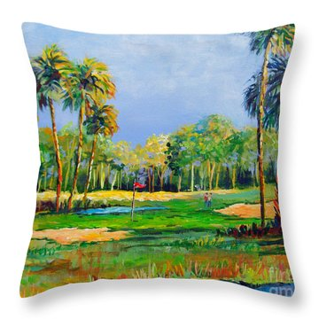 Golf In The Tropics Throw Pillow by Lou Ann Bagnall