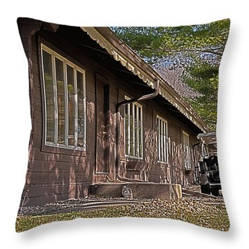 Throw Pillow featuring the painting Golf Lodge by Deborah Klubertanz