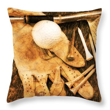 Golf Memorabilia Throw Pillow by Charline Xia