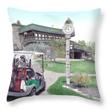 Throw Pillow featuring the painting Golf Seven Springs Mountain Resort by Albert Puskaric