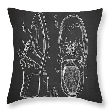 Golf Shoe Patent Drawing From 1927 Throw Pillow by Aged Pixel