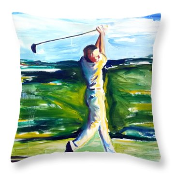 Throw Pillow featuring the painting Golf Swing by John Jr Gholson